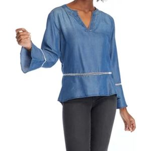 Kim Rogers| Long Sleeve Lyocell Woven Chambray Top